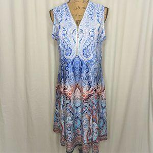 Shoreline V-neck Front Zip Blue White Dress